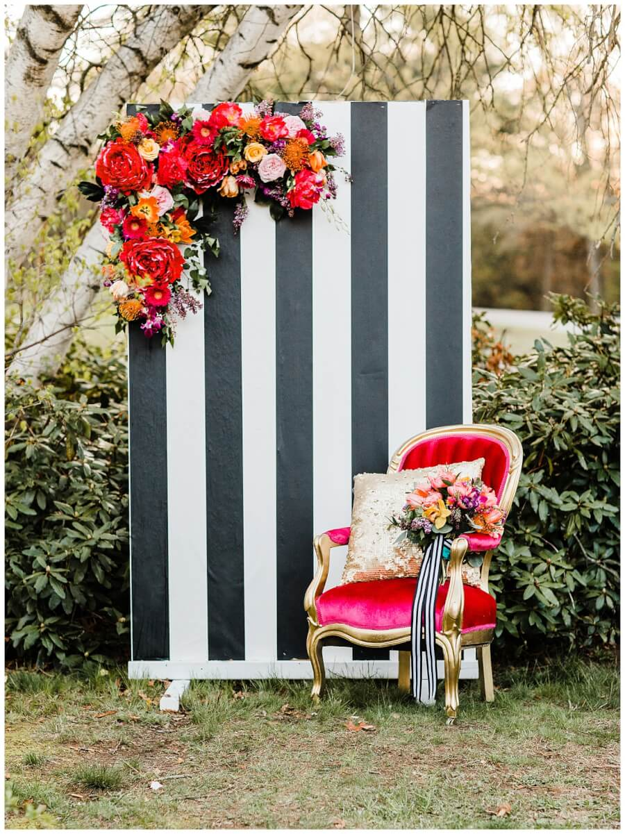 Black & White Striped Backdrop | Uniquely Chic Vintage Rentals