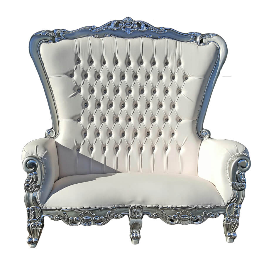 Silver Throne Loveseat | Uniquely Chic Vintage