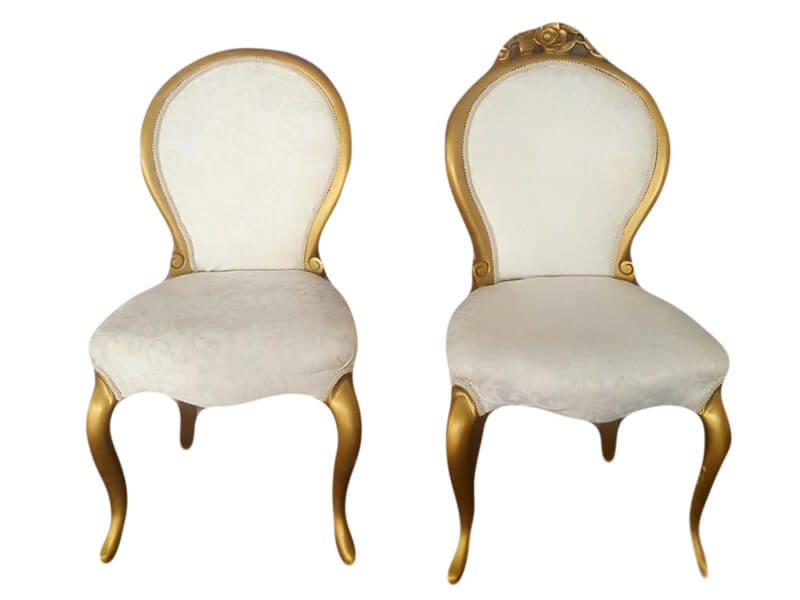 Gold & Ivory Brocade Medallion Chairs | Uniquely Chic Vintage