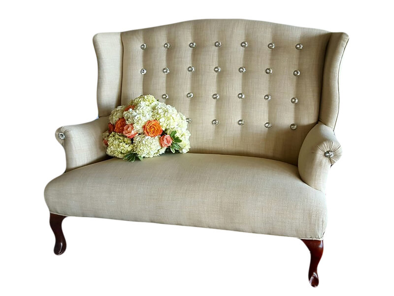 Cream Diamond Button Sweetheart Loveseat | Uniquely Chic Vintage