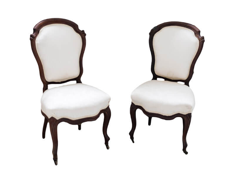 Antique Wood & White Brocade Chairs | Uniquely Chic Vintage