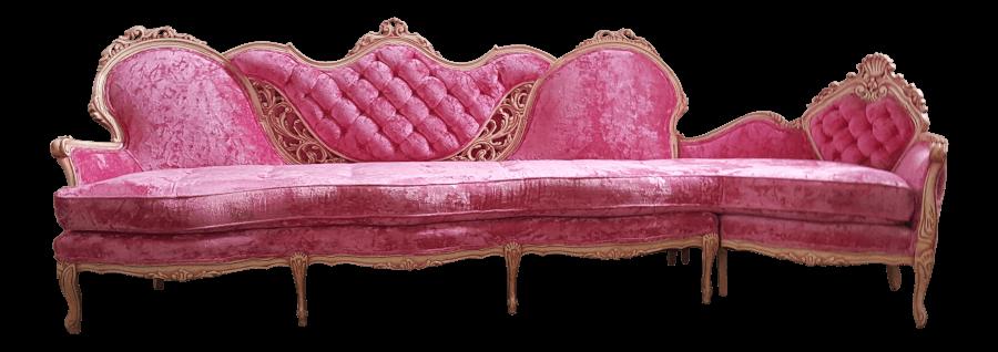 Hot Pink Velvet Sectional Sofa | Uniquely Chic Vintage Rentals