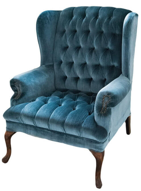 Blue Velvet Wingback Chair | Uniquely Chic Vintage