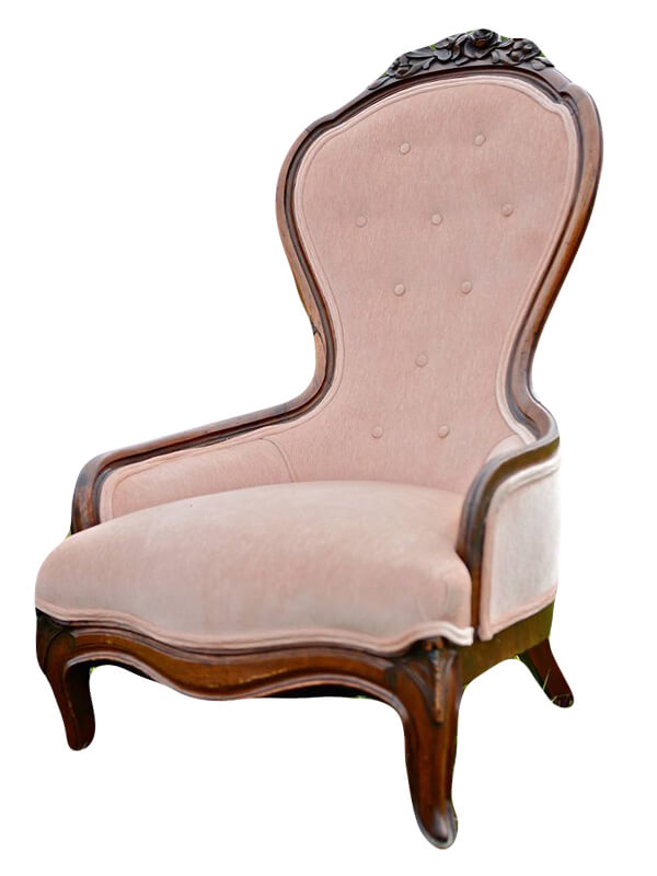 Victorian Pink Velvet Slipper Chair | Uniquely Chic Vintage