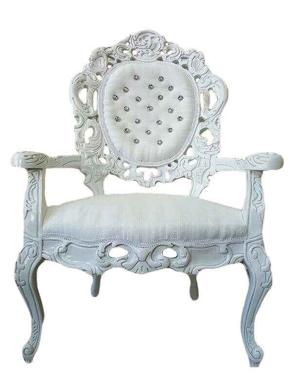 White Victorian Diamond Tufted Chairs | Uniquely Chic Vintage