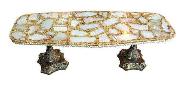 Hollywood Glam Gold & Quartz Coffee Table | Uniquely Chic Vintage