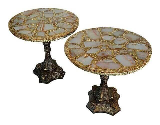 Hollywood Glam Gold & Quartz End Tables   Uniquely Chic Vintage