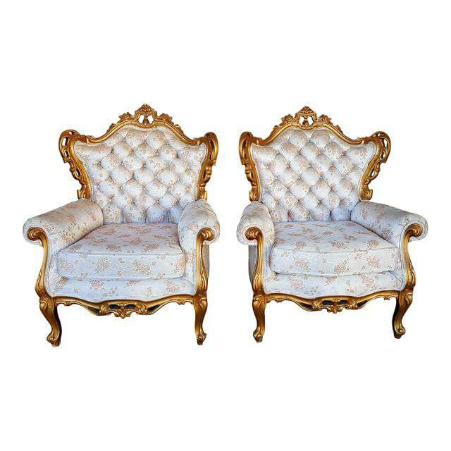 Hollywood Glam Gold & White Chairs | Uniquely Chic Vintage