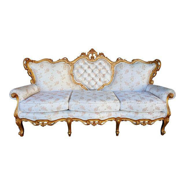 Hollywood Glam Gold & White Sofa | Uniquely Chic Vintage