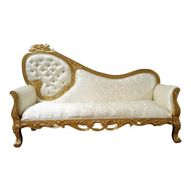 Gold & Ivory Diamond Chaise | Uniquely Chic Vintage