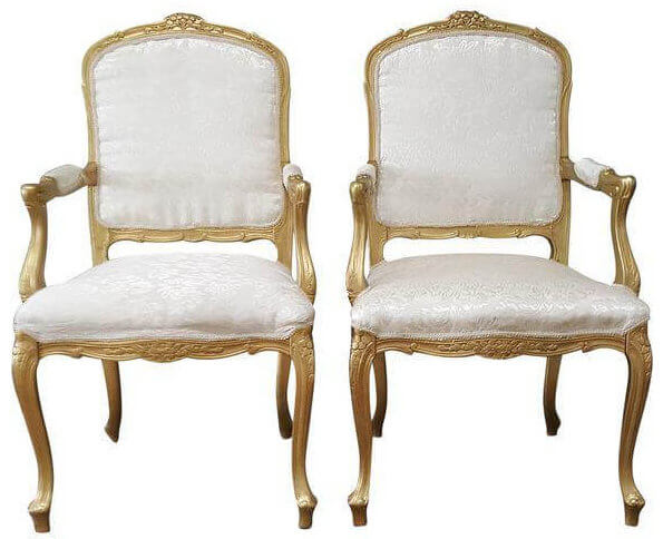 Louis XIV Ivory Brocade & Gold Chairs | Uniquely Chic Vintage