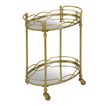 Gold Mirrored Bar Cart | Uniquely Chic Vintage