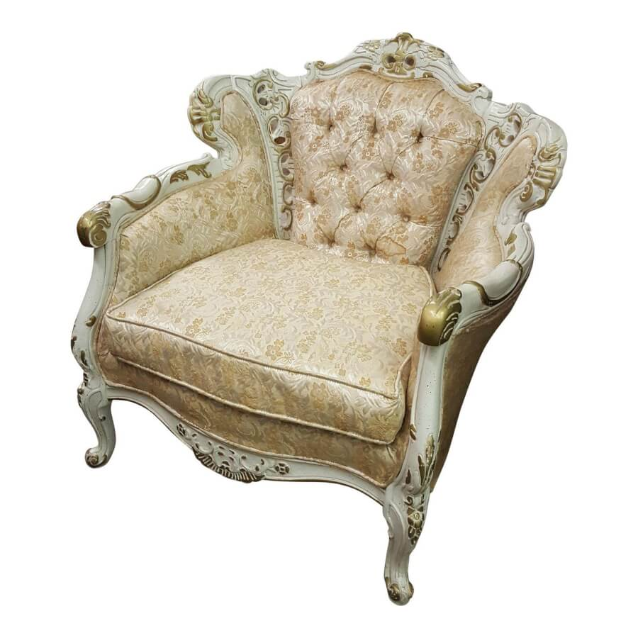 Gold & White Victorian Floral Brocade Chair | Uniquely Chic Vintage