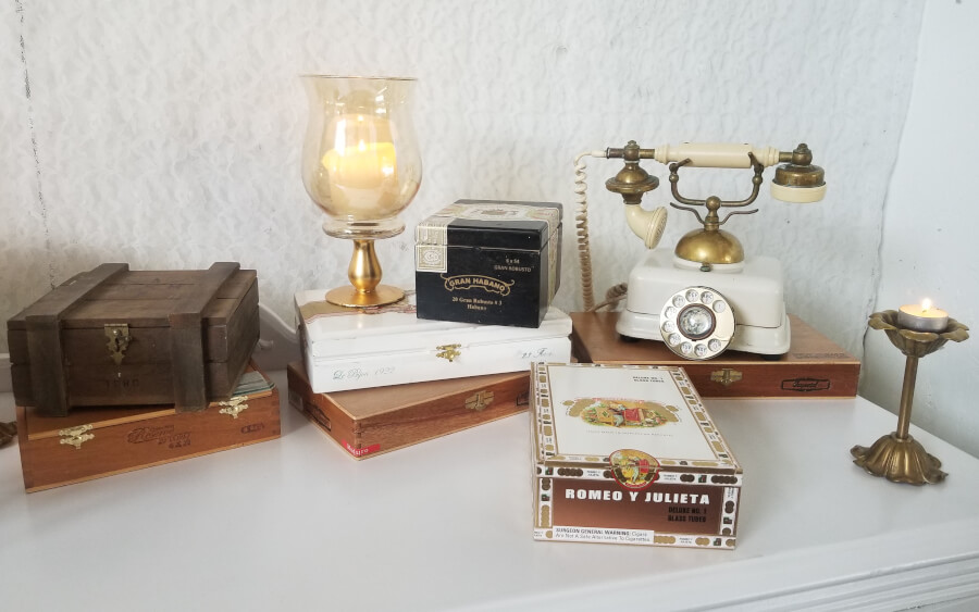 Cigar Boxes & Cigar Bar Decor | Uniquely Chic Vintage Rentals