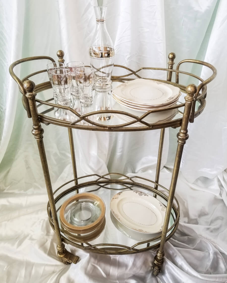 Mix & Match Gold Accent Glassware & Dinnerware (Cart Rented Separately) | Uniquely Chic Vintage Rentals