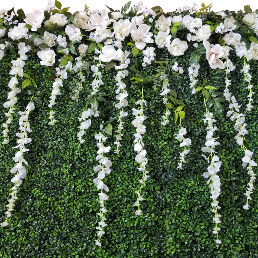 Romantic Boxwood Backdrop (close up) | Uniquely Chic Vintage Rentals