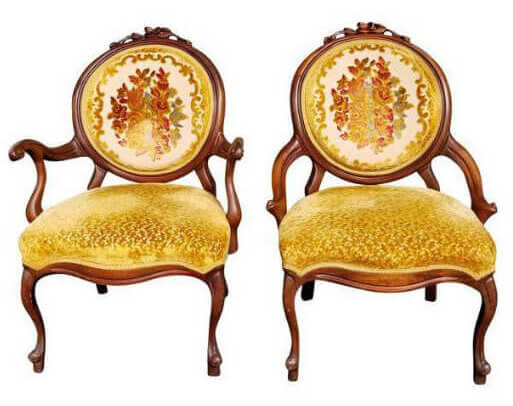 Autumn Gold His & Hers Velvet Chairs | Uniquely Chic Vintage Rentals