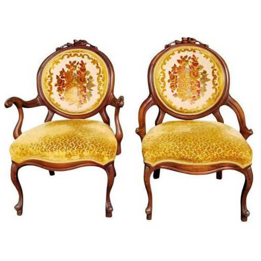 Autumn Gold His & Hers Velvet Chairs | Uniquely Chic Vintage Rentals