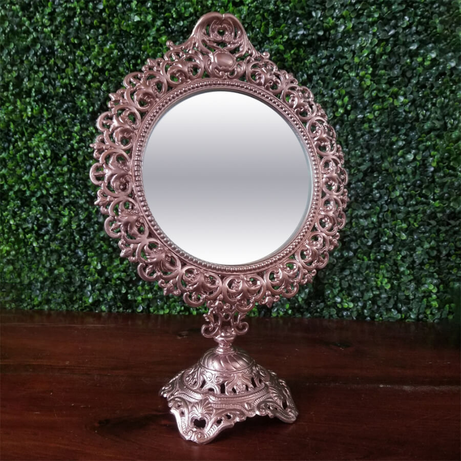 Rose Gold Tabletop Vanity Mirror | Uniquely Chic Vintage Rentals