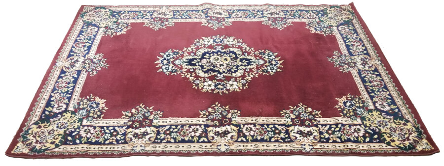 Red Rug with Blue Trim | Uniquely Chic Vintage Rentals