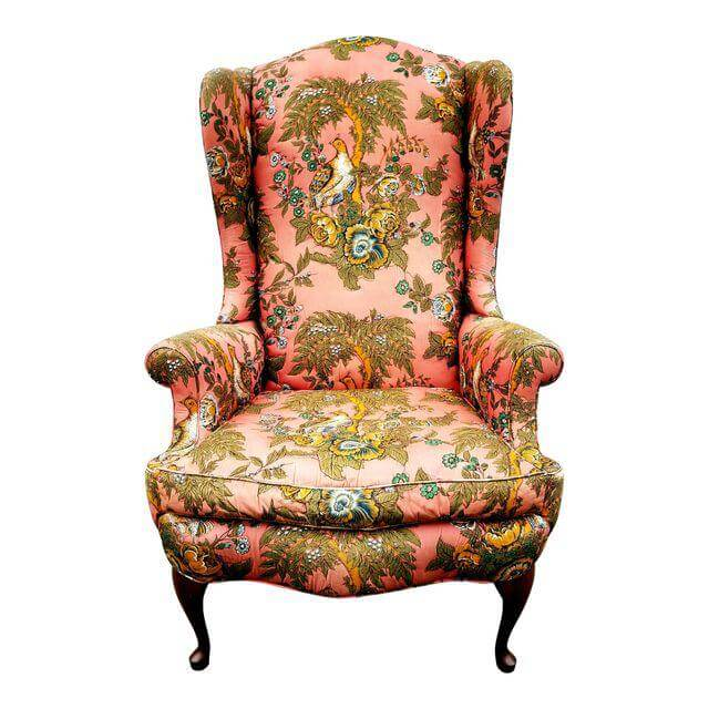Pink & Green Floral Wingback Chair | Uniquely Chic Vintage Rentals