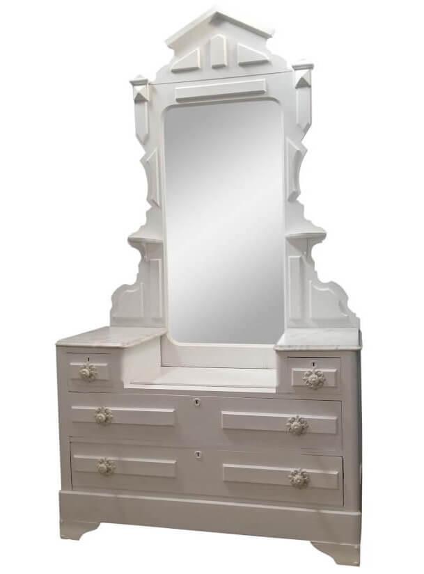 White Mirrored Dresser | Uniquely Chic Vintage Rentals