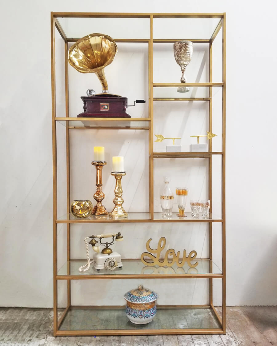 Gold & Glass Shelf | Uniquely Chic Vintage Rentals
