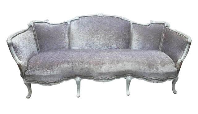 Silver Velvet Sofa | Uniquely Chic Vintage Rentals