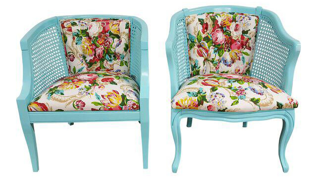 Tiffany Blue & Floral Chairs | Uniquely Chic Vintage Rentals