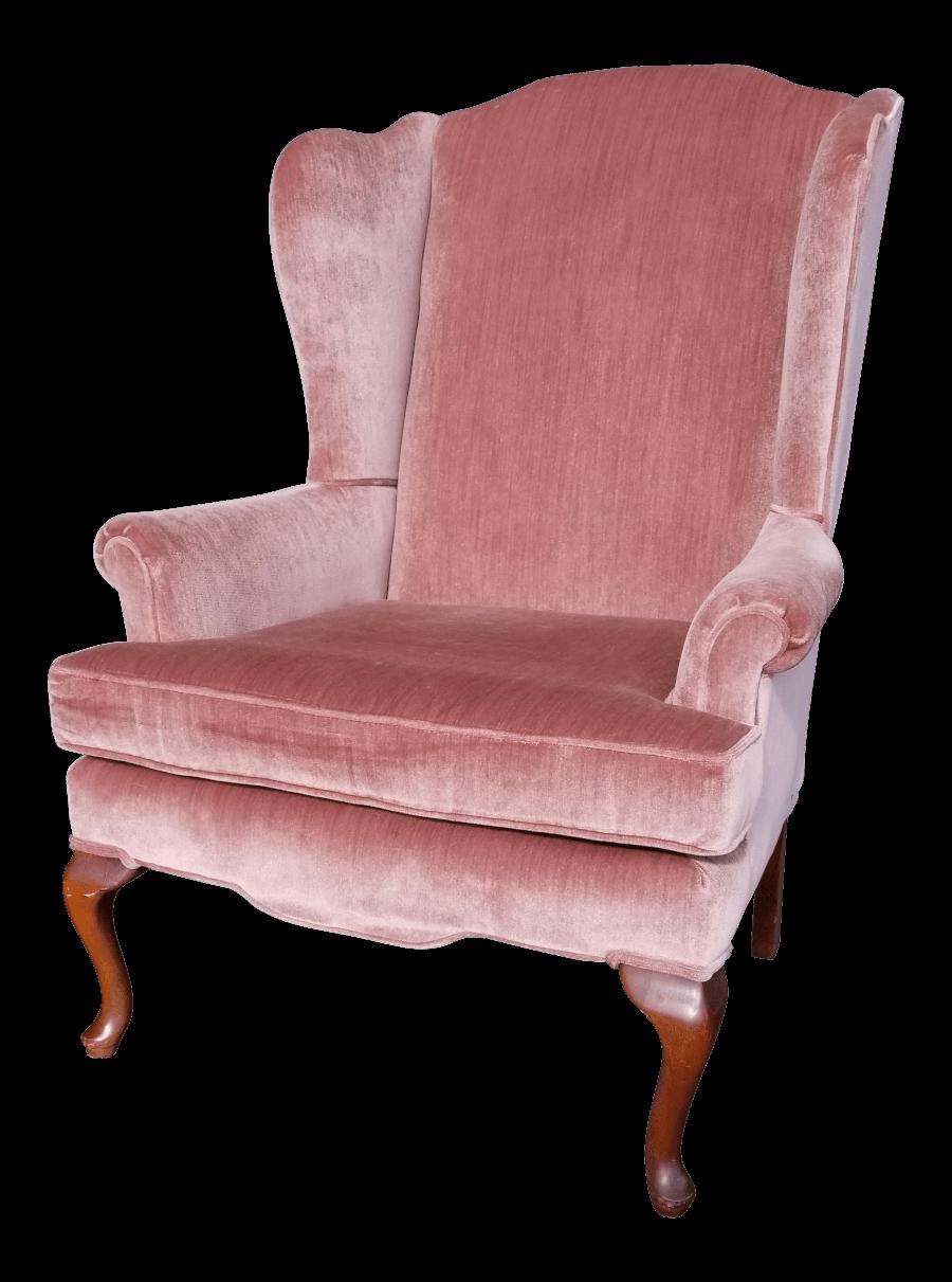 Pink Velvet Wingback Chair | Uniquely Chic Vintage Rentals