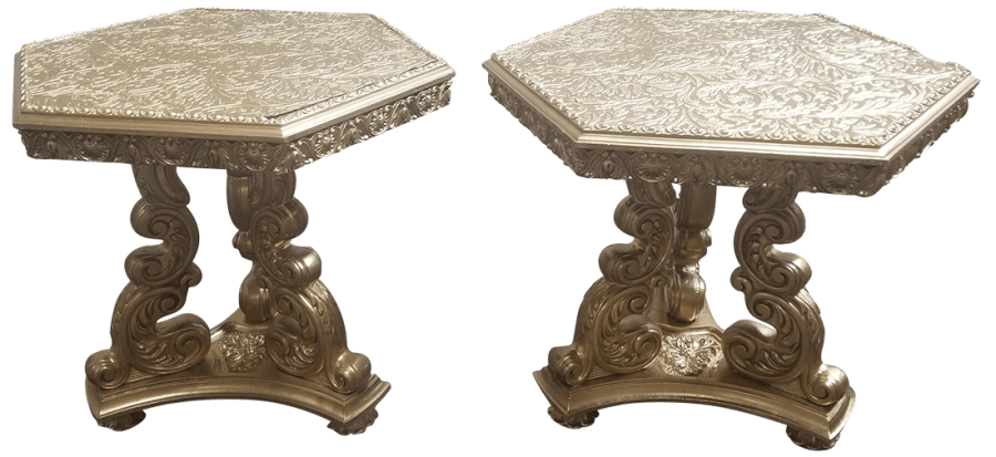 Victorian Gold Side Table Pair | Uniquely Chic Vintage