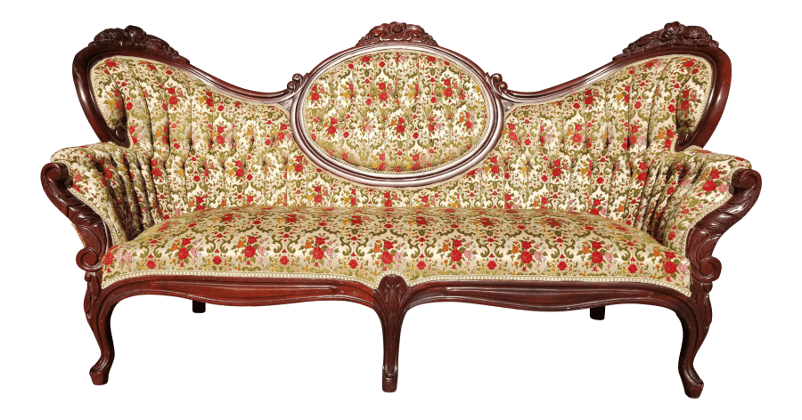 Victorian Floral Velvet Sofa - UPHOLSTERED SEATING Uniquely Chic Vintage