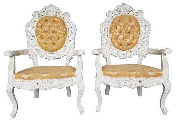 Ivory & Gold Brocade Victorian Chairs | Uniquely Chic Vintage Rentals