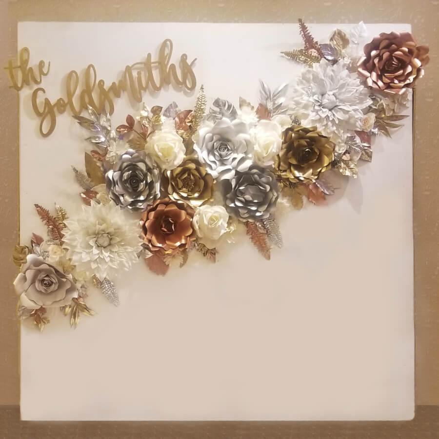 Modern Floral Metallic Backdrop | Uniquely Chic Vintage Rentals