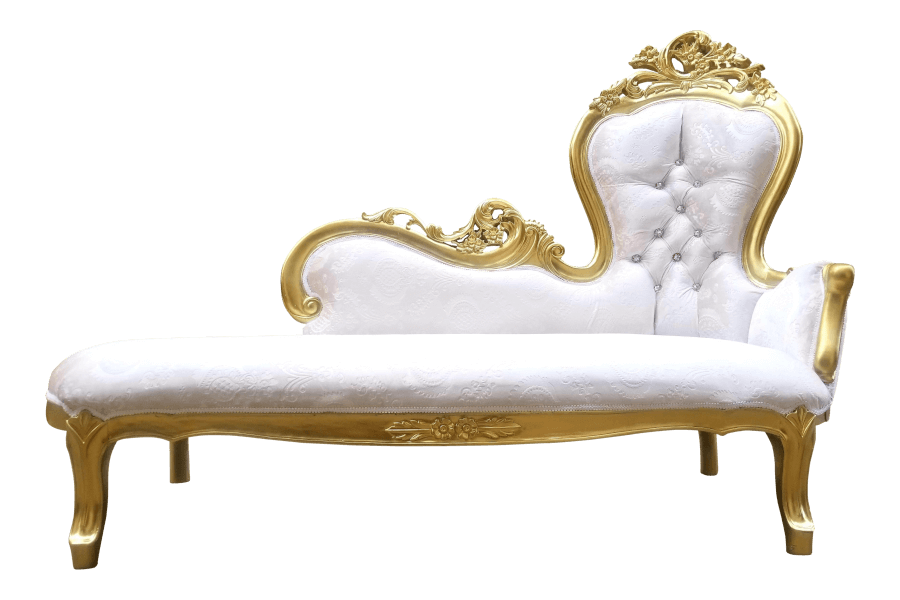 Gold & Ivory Velvet Chaise | Uniquely Chic Vintage Rentals