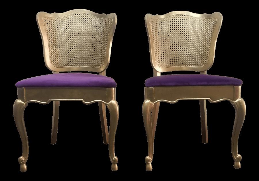 French Gold & Purple Velvet Chairs | Uniquely Chic Vintage Rentals