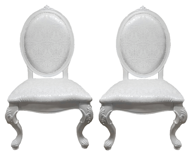Pearlescent Damask Sweetheart Chairs | Uniquely Chic Vintage Rentals
