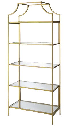 Ornate Gold & Glass Shelf   Uniquely Chic Vintage Rentals