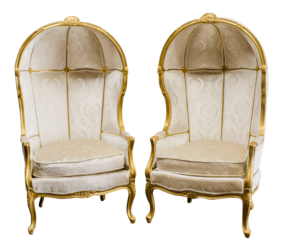 Gold & Ivory Balloon Chairs | Uniquely Chic Vintage Rentals