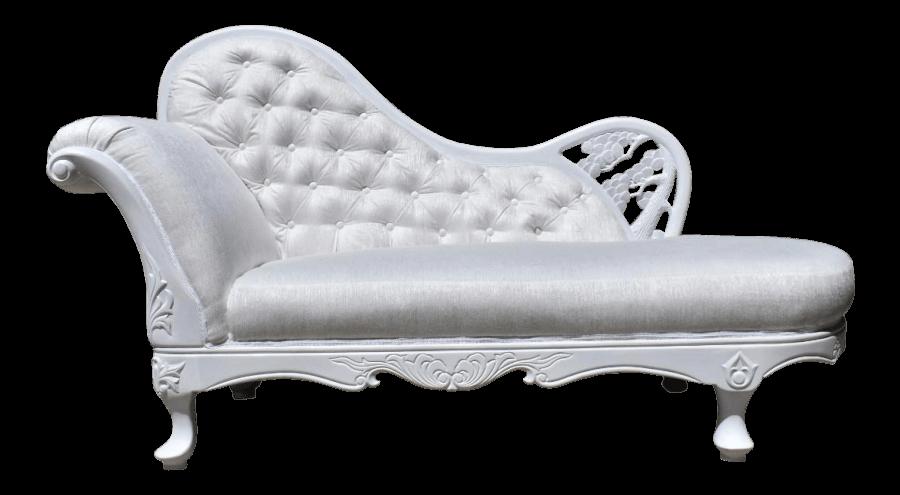 White Velvet Chaise | Uniquely Chic Vintage Rentals