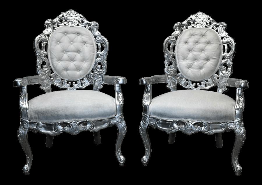 Silver & White Velvet Chairs | Uniquely Chic Vintage Rentals