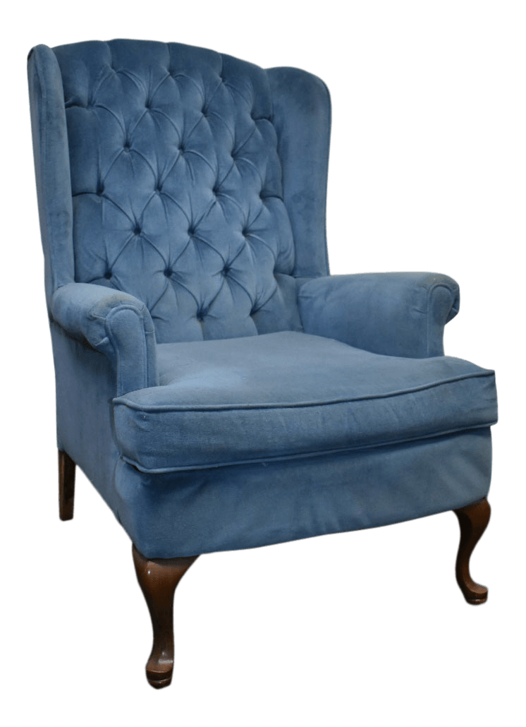 French Blue Velvet Wingback Chair | Uniquely Chic Vintage Rentals
