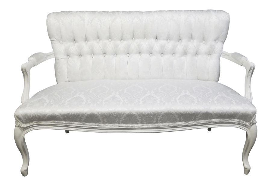 White Damask Sweetheart Settee | Uniquely Chic Vintage Rentals