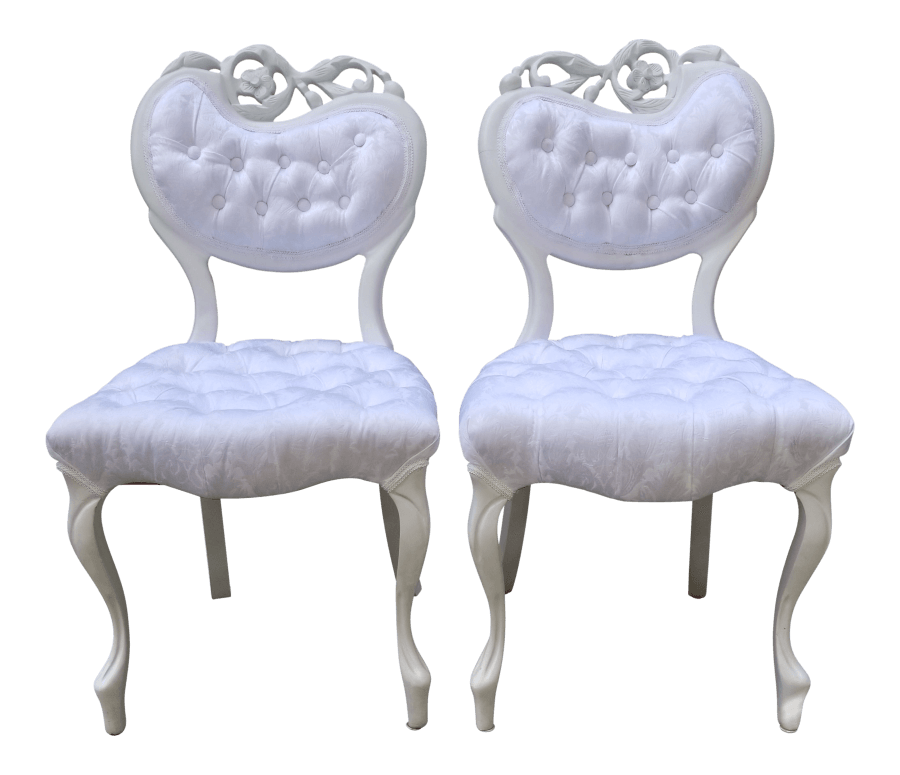 White Damask Sweetheart Chairs | Uniquely Chic Vintage Rentals