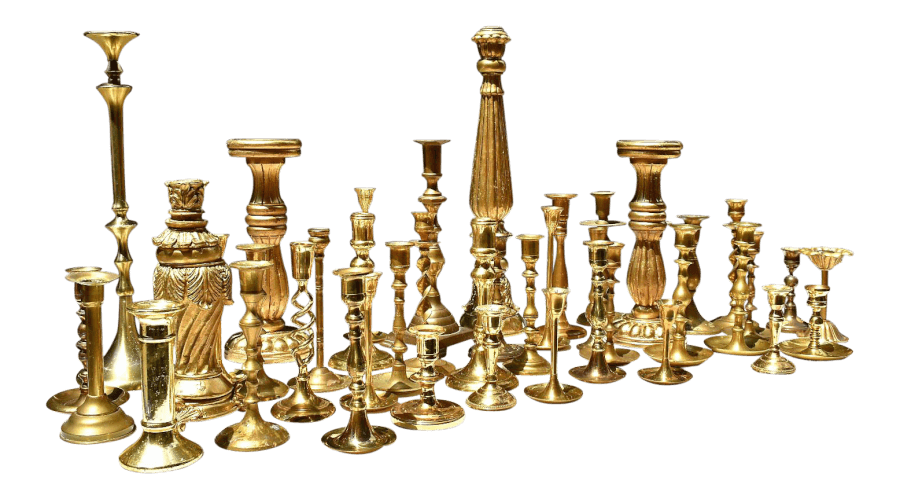 Assorted Brass Candlesticks | Uniquely Chic Vintage Rentals