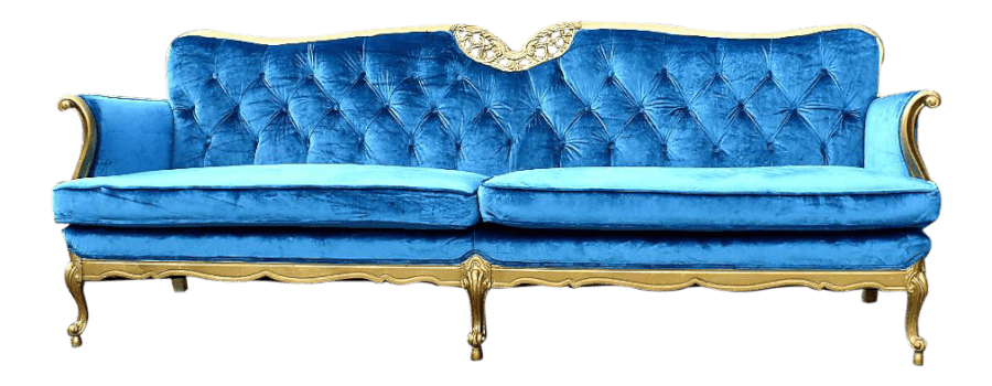 Hollywood Regency Turquoise Velvet Couch | Uniquely Chic Vintage Rentals